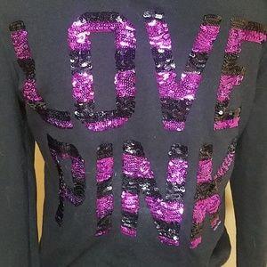 Love Pink Black Sweatshirt With Purple Sequins